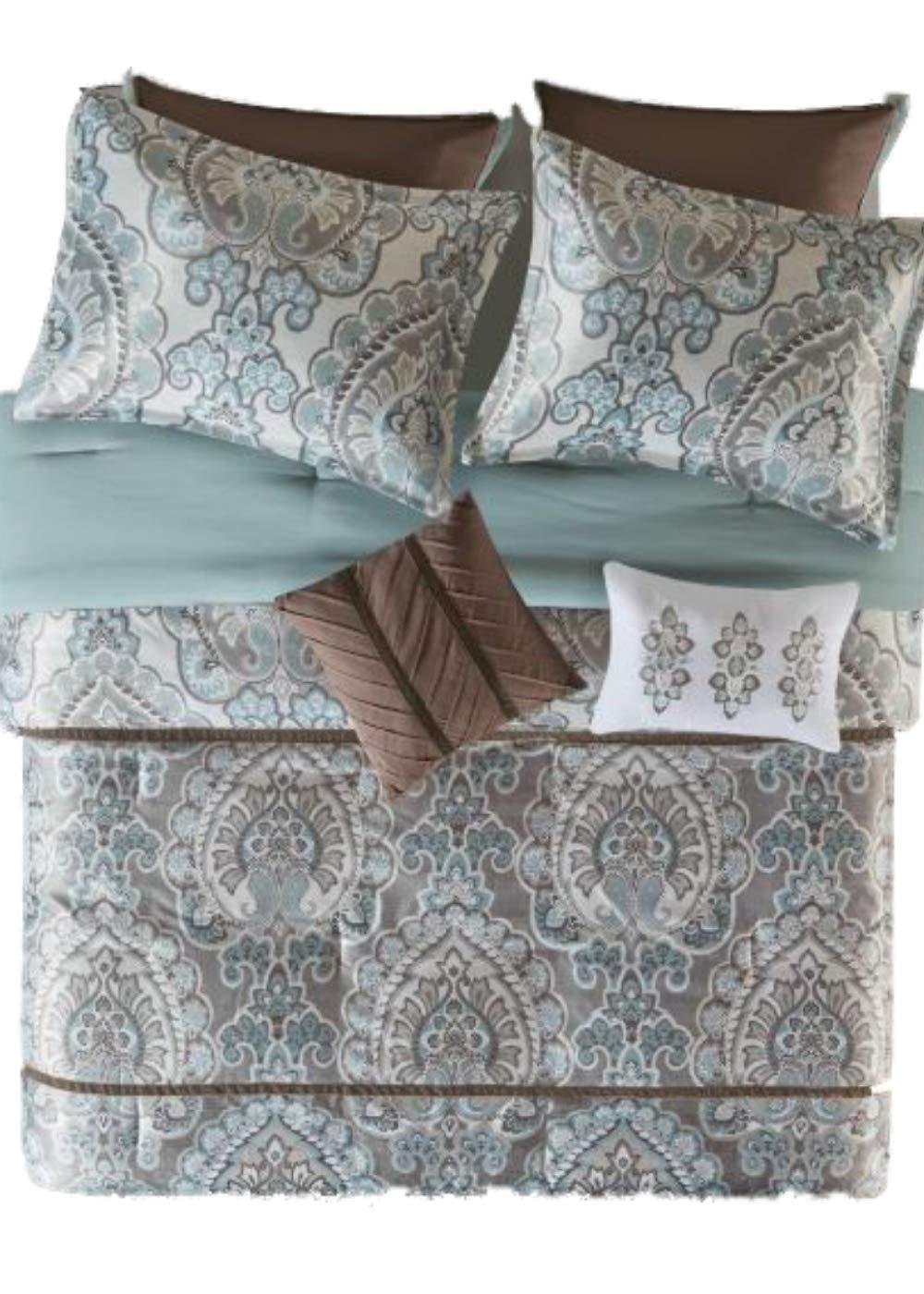 E /& E Linen 8pc Brown Printed Charmeuse Comforter Set Queen