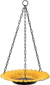 Hanging Sunflower Bird Bath for Outdoors Bird Water Feeder and Bath 14-Inch Cast Iron Sunflower Bird Bath