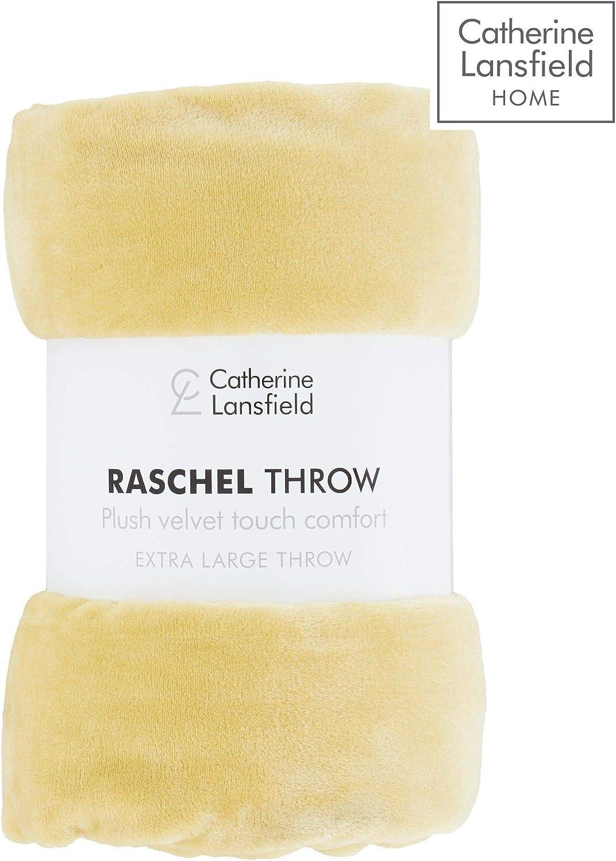 201 x 240 cm Catherine Lansfield Extra Large Raschel Velvet Coperta Silver