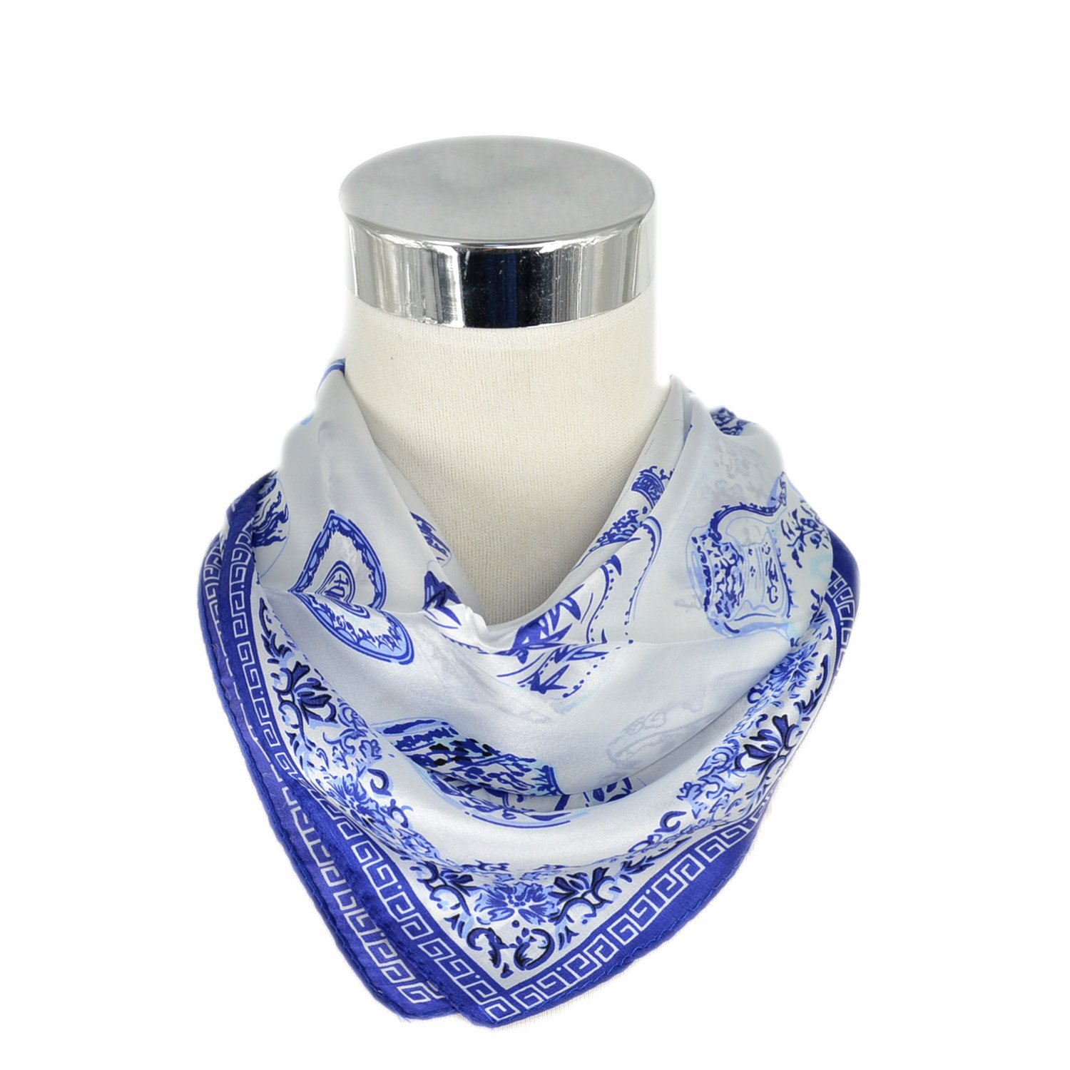 Amazoncom Womens Small Square Scarf Chinese Blue And White