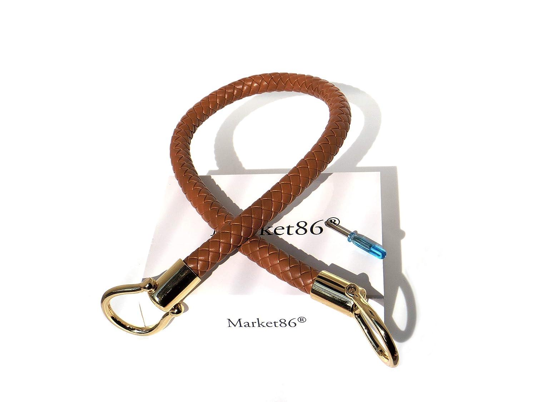 Camel market86 13mm Width DIY Handbag Accessories Braided Pu Leather Purse Handles Handbag Replacement Straps Detachable Bunckles Length 23.6 Inches
