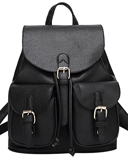 Coofit Backpack Soft Leather Schoolbag Girl's Drawstring Casual Daypack