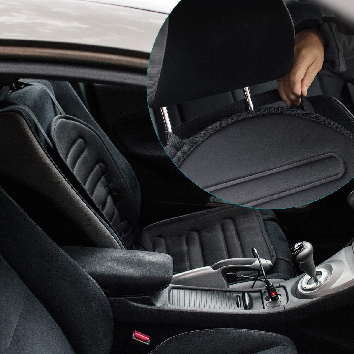 Sedile Riscaldante per Automobili con Attacco Accendisigari 2 Intensit/à di Riscaldamento Navaris Scaldasedile Elettrico Universale Copri Cuscino