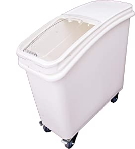 Restaurantware 21 Gallon Slant Top Mobile Ingredient Bin with Scoop 335 Cup Ingredient Bin with Sliding Lid Commercial Food Storage for Kitchen