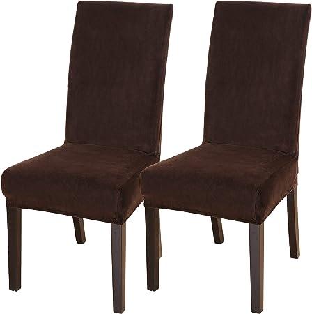 Funda elástica para Silla de Comedor de Terciopelo, Fundas Decorativas para sillas de Comedor para Salon Jardín Bodas Restaurante Extraíbles y Lavables Pack de 2 Piezas (Marrón,Grande): Amazon.es: Hogar