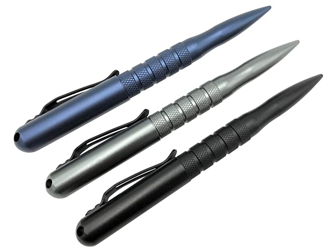 Practical Tactical Pen for Self Defense- Survival Multitool, Elegant Ballpoint Pens Designed for Quick Protection, Emergency Use and Best EDC for Men and Women- 3 Colors, 2 Inks best tactical pens