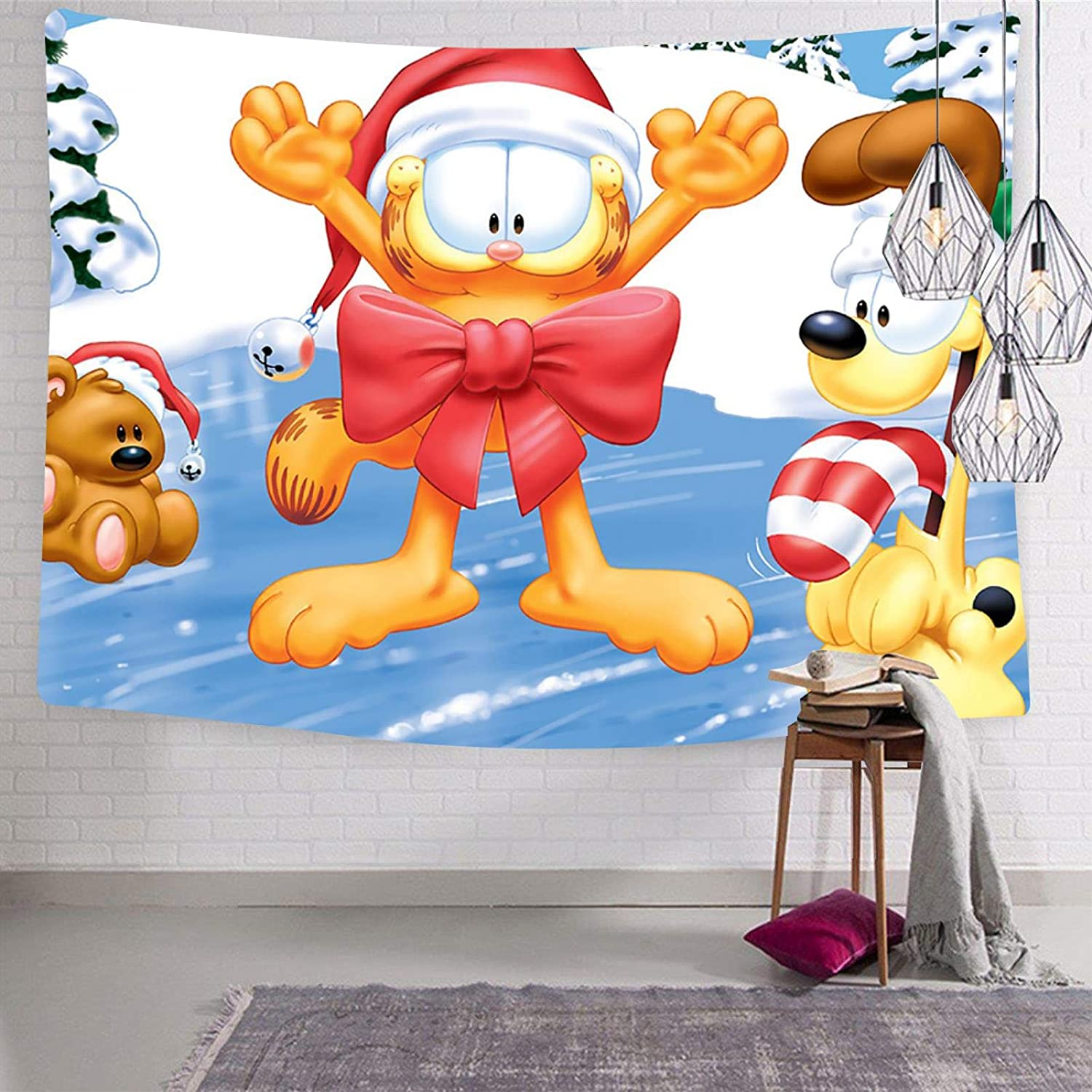 VIPODER Tapestry Wall Hanging Decor Blanket Garfield and Odie Christmas Decorations for Living Room Bedroom Home Decor Tapestries 70.9 x 92.5 Inch