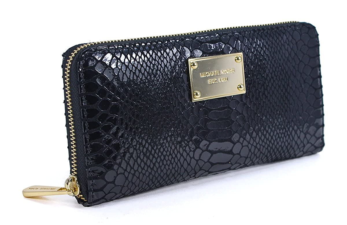 87d9ba98f4db Amazon.com: Michael Kors Black Python Leather Zip Around Continental Wallet  GOLD HARDWARE: Shoes