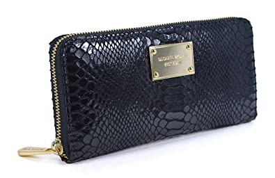 0a4f300fe4ad Image Unavailable. Image not available for. Color: Michael Kors Black Python  Leather Zip Around Continental Wallet ...
