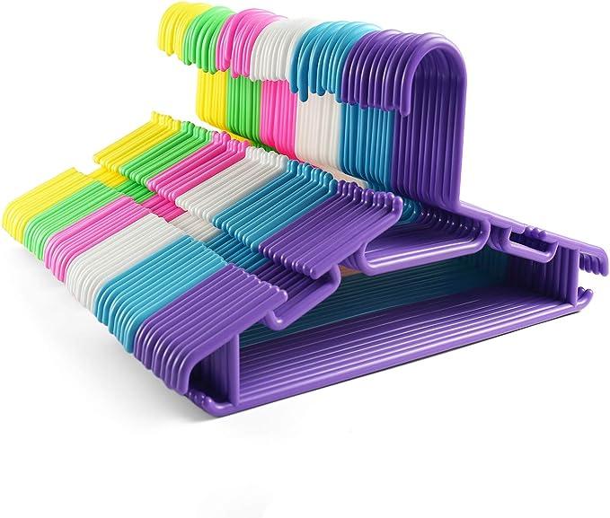 Tosnail 60 Pack Plastic Children S Hangers Baby Hangers Kids Hangers Toddler S Hangers Assorted 6 Colors Home Kitchen Amazon Com