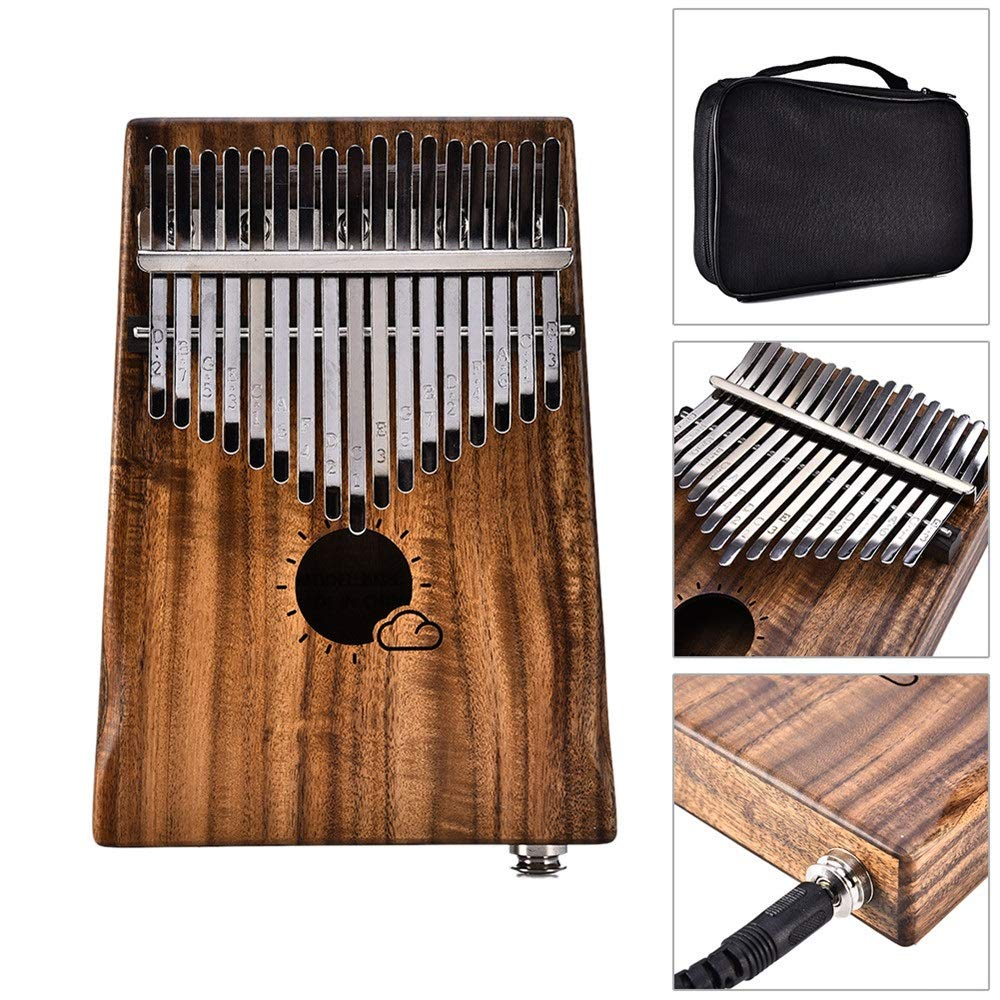 Professional Finger Thumb Piano African 17 Keys Thumb Piano EQ Kalimba With Jack Song Book Tuning Hammer Pickup Carry Bag Natural Acacia Wood Finger Piano Metal Engraved Notation Tines Kids Musical In