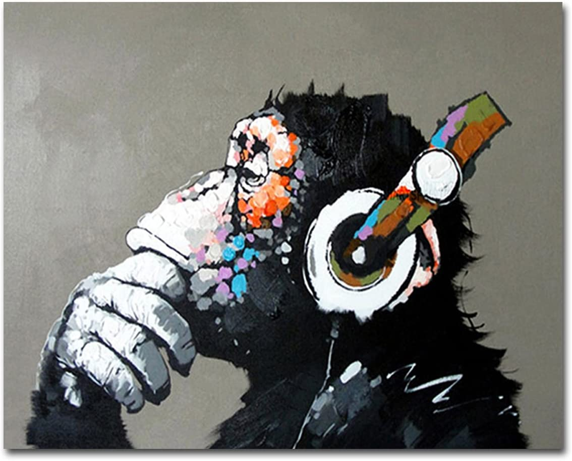 Muzagroo Art Oil Paintings Listen to Music Gorilla Canvas Pictures for Living Room Wall Decor M