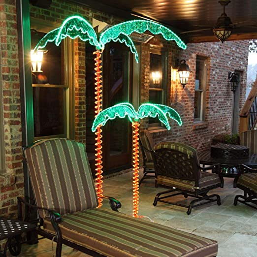 RTR_GF 2.5 Ft 4.5 Ft 7 Ft Deluxe Tropical LED Lighted Palm Tree Rope Light Holographic Trunk & Fronds (7Ft)