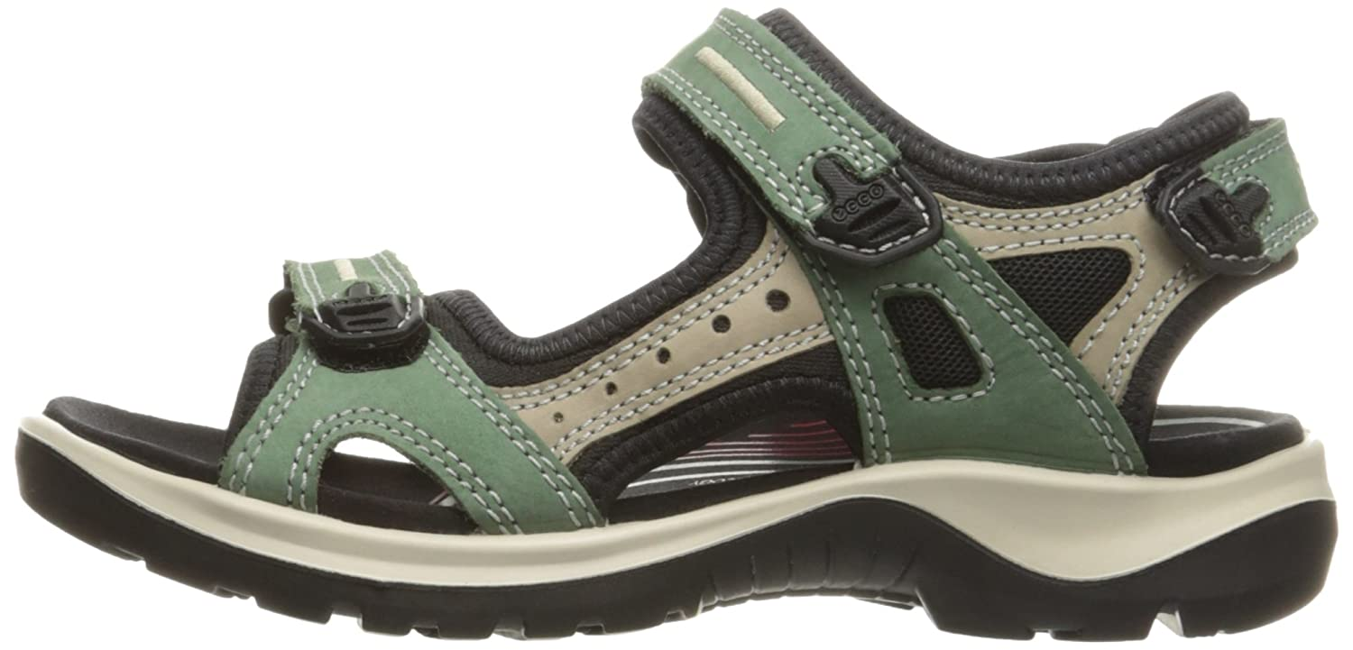 ECCO Women's Yucatan Sandal B01EKML3T0 37 EU/6-6.5 M US|Frosty Green/Moon Rock/Frosty Green