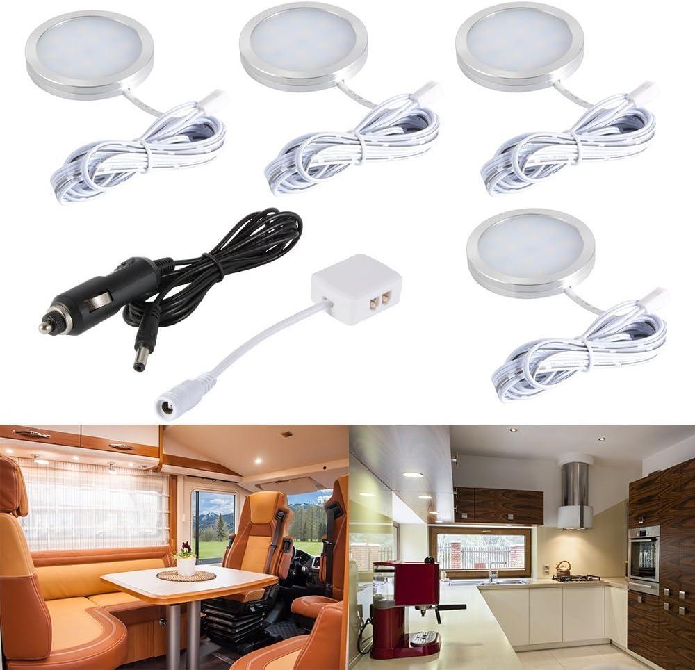 Juego de luces LED para interiores de coche, 12V Blanco cálido LED luces del gabinete con separador y cargador de coche para RV, remolque, caravana, transportador, furgoneta, camión, barco