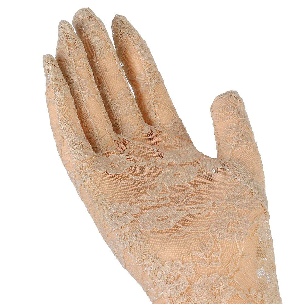 Beige Fashion 19.69 Women/'s Summer UV Protection Lace Gloves Elegant Ladys Long Arm Bridal Party Evening Lace Gloves