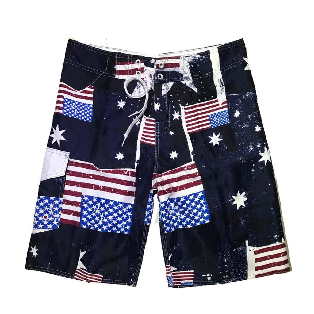 Yomiafy Mens USA Flag Print Short Pants Sports Quick Dry Shorts Surf Beach Swim Trunks