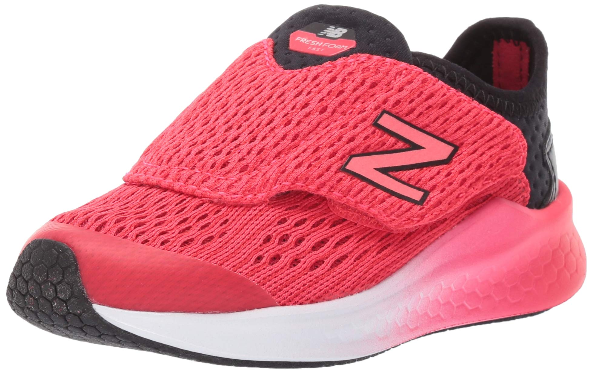New Balance Boys' Fast V1 Fresh Foam Hook and Loop Running Shoe, Black/Energy red, 5.5 M US Toddler