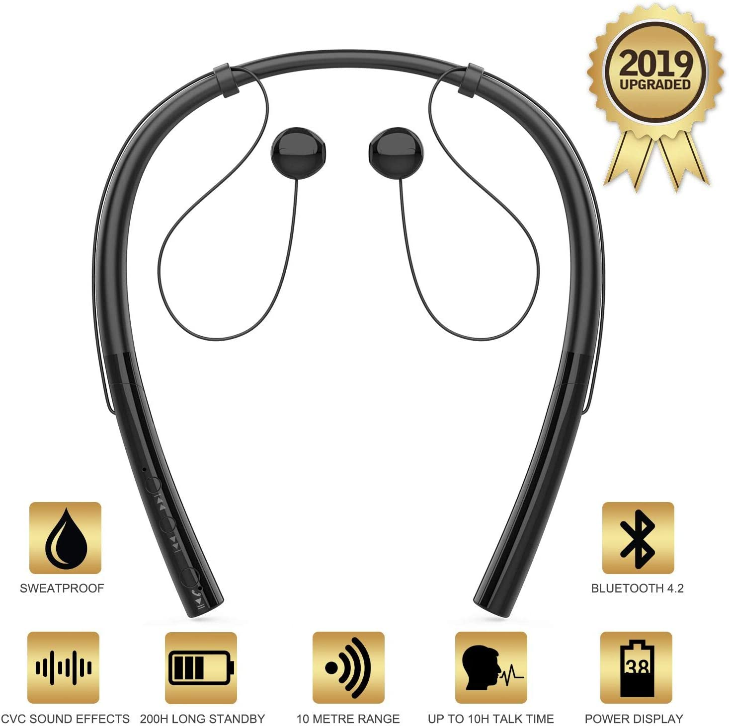 Amazon Com Hbq V4 2 Bluetooth Running Headphones Wireless Neckband Headset Sport Earphones Cvc Noise Canceling Bluetooth Earbuds With Microphone For Iphone X 8 7 6 Android Samsung Home Audio Theater