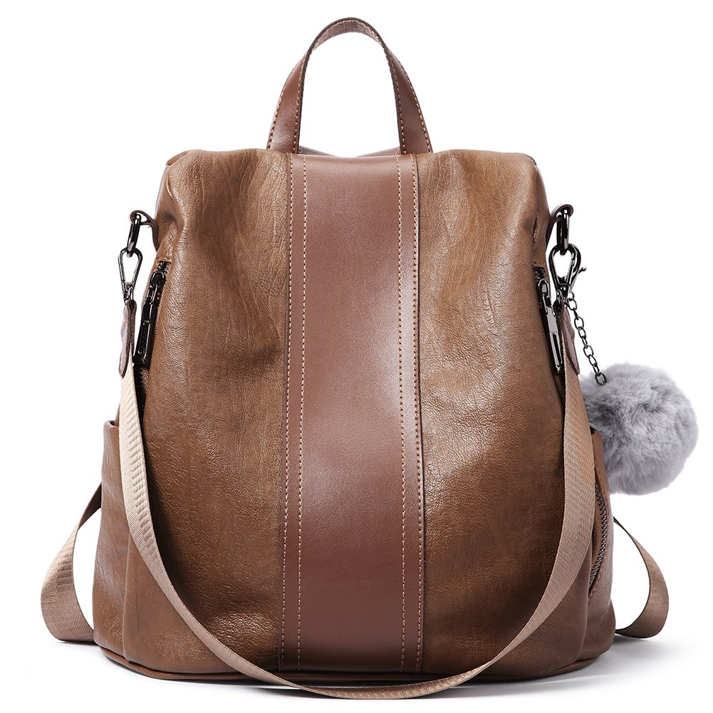 Women Backpack Purse Soft Leather Anti-theft Covertible Handbag Lightweight Waterproof School Shoulder Bag brown by Cluci