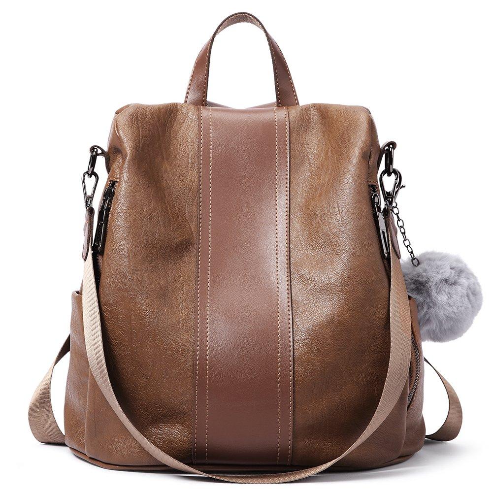 Women Backpack Purse Soft Leather Anti-theft Covertible Handbag Lightweight Waterproof School Shoulder Bag brown