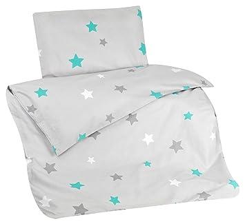 Aminata Kids Bettwasche Kinder Sterne 100x135 Cm Grau Turkis