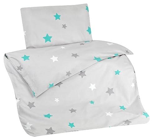 Aminata Kids Bettwäsche Kinder Sterne 100x135 Cm Grau Türkis  Kinderbettwäsche Sternmotiv Bettwäsche Kinder Stern Baumwolle