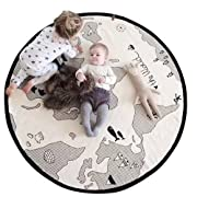 Lzttyee Beige Adventure World Map Pattern Baby Crawling Mats Game Blanket Floor Playmats Round Carpet Children's Room Decoration