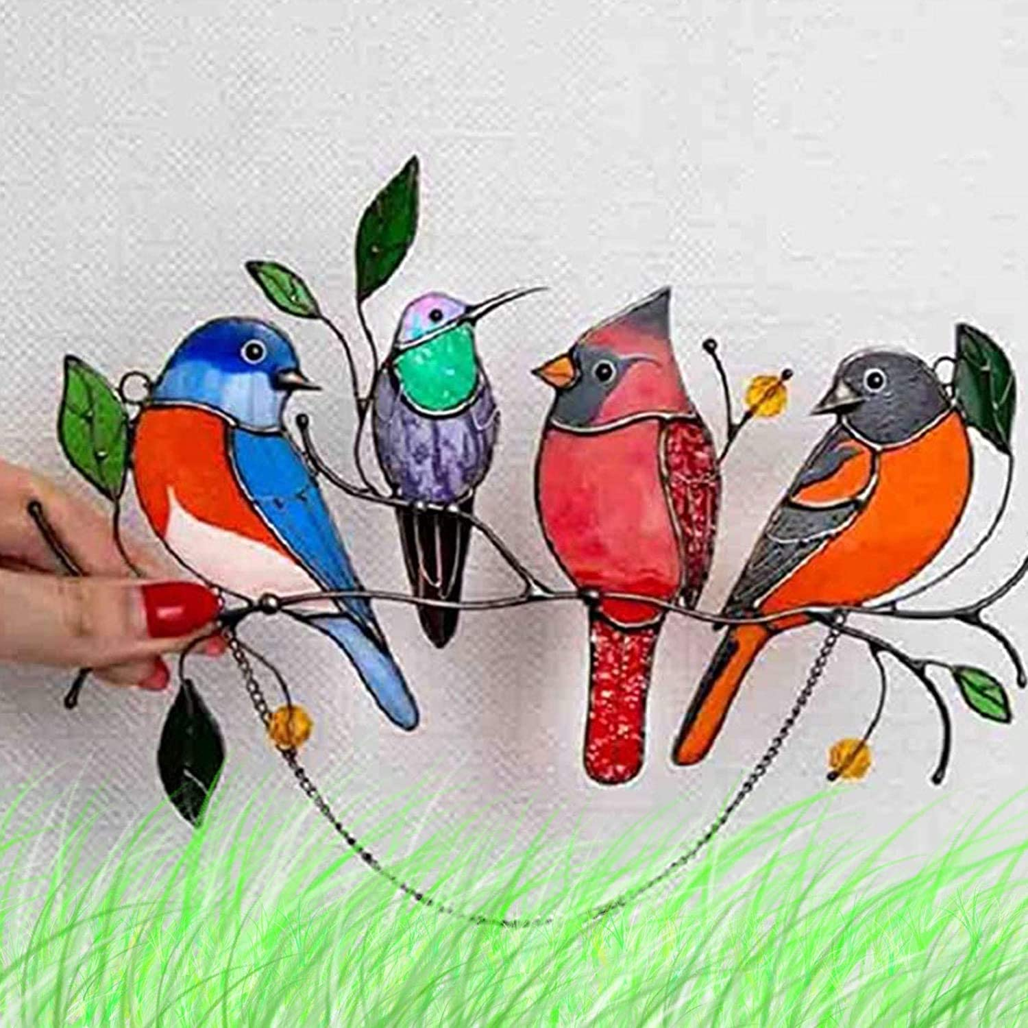 FTALGS Multicolor Birds on a Wire High Stained Glass Suncatcher Window Panel,Hanging for Home Decor,Living Room, Bathroom, Hanging Vintage Wall Sconce Windows Doors Home Decoration and Gifts (4 Birds)