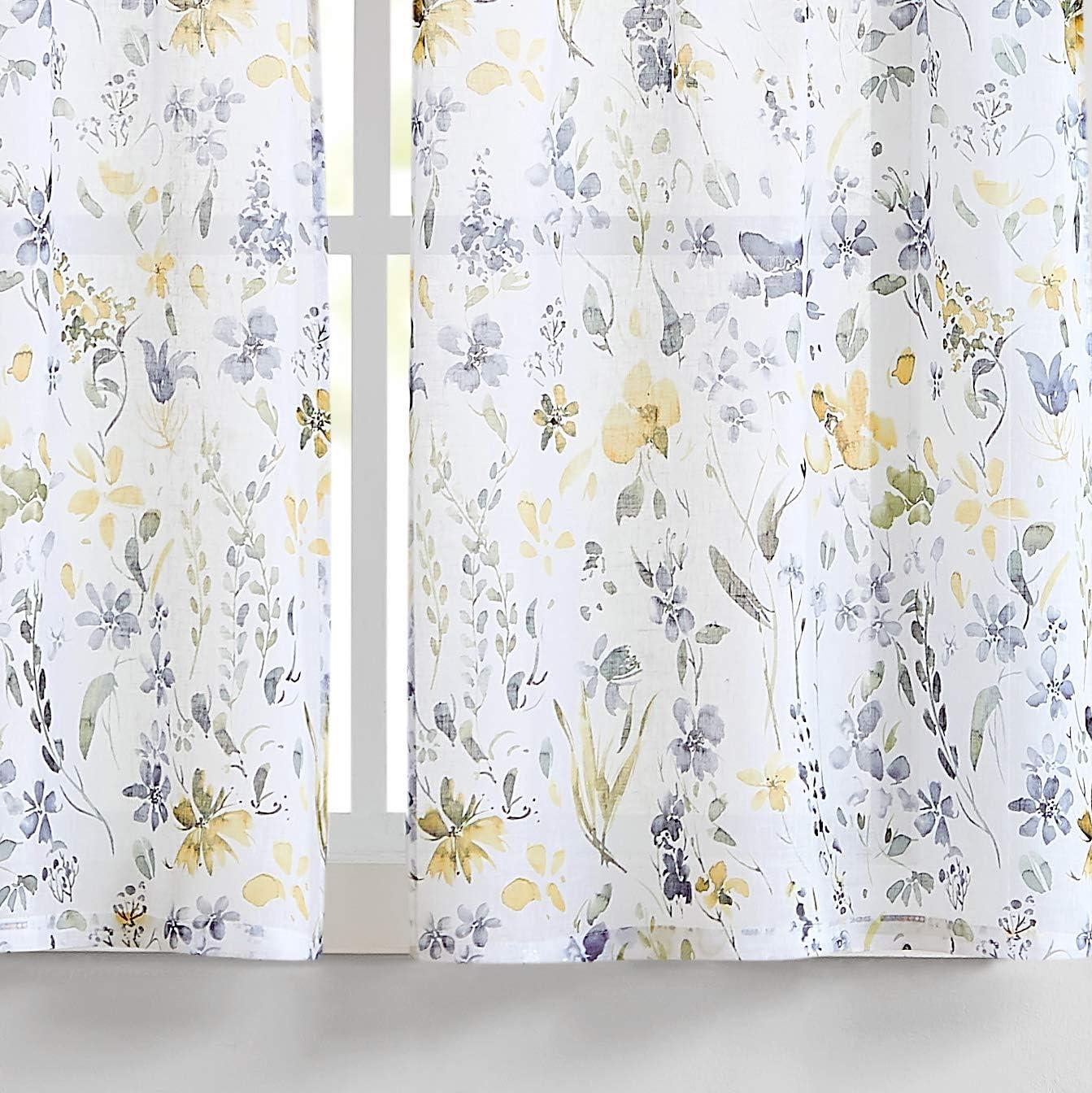 "Fragrantex Yellow Flower Print Tier Curtains 45 inch Length Multi-Color Linen Texture, Rustic Farmhouse Style Curtains, Window Floral Curtains Tiers 28"" W x 45"" L,2 Panels Rod Pocket"