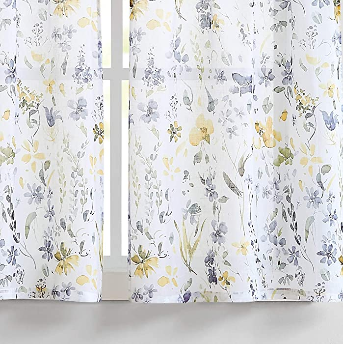 "Fragrantex Yellow Flower Print Tier Curtains 45 inch Length Multi-Color Linen Texture, Rustic Farmhouse Style Curtains, Window Floral Curtains Tiers 28"" W x 45"" L,2 Panels Rod Pocket"