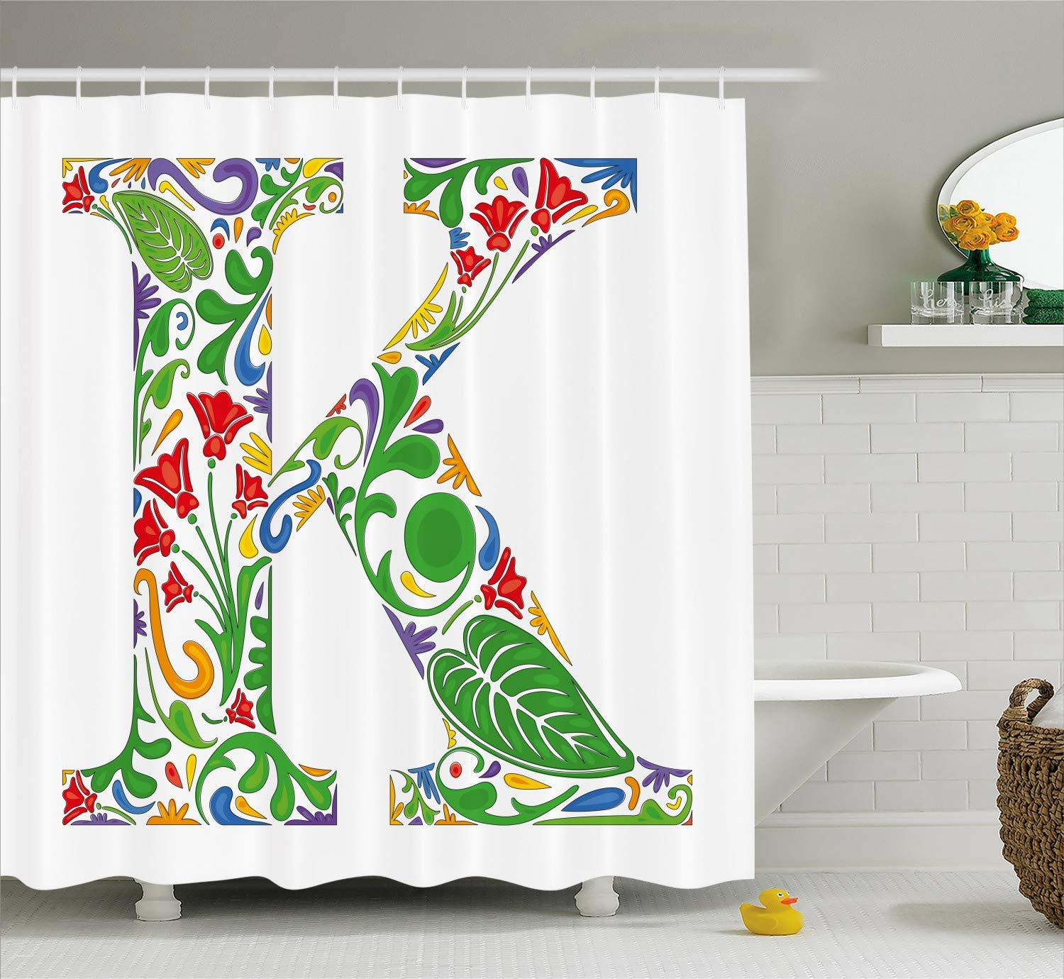 Custom Made Letter K Shower Curtain, Vivid Color Scheme Natural Inspirations Flowers Leaves Stalks Uppercase K Alphabet, Bathroom Fabric Curtains Bath Waterproof, 72 x 84 Inches White Green Orange