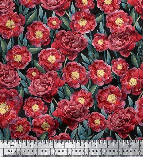 7bb8e71a5b84 Soimoi Schwarz Viskose Chiffon Stoff Pfingstrose und Ranunkeln Blumen- Stoff  Meterware 42 Zoll breit