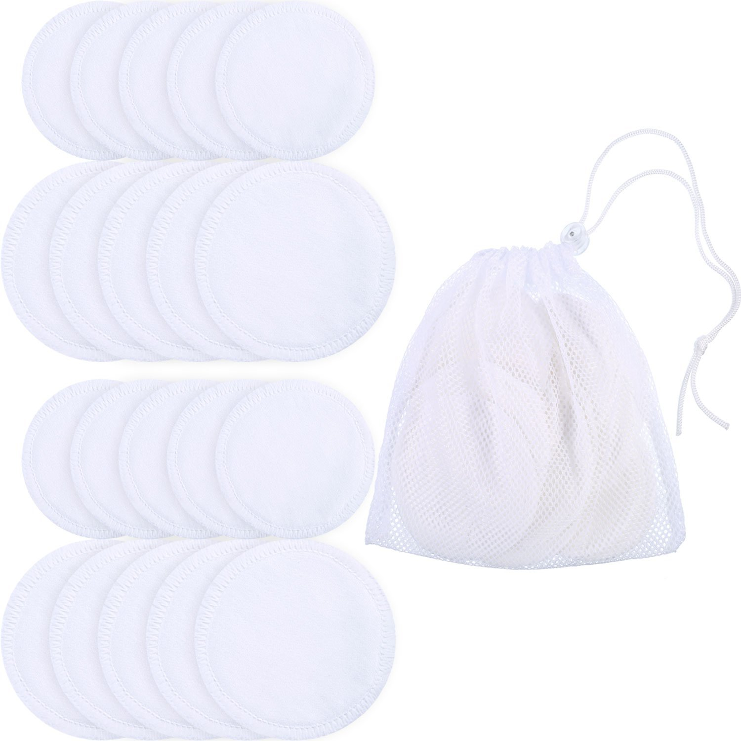 20 Pieces Makeup Remover Pads Bamboo Facial Toner Pads Reusable Washable Skin Care Cloth Cleansing Wipes in Laundry Bag (White, 3.15 and 4 Inches) Bememo