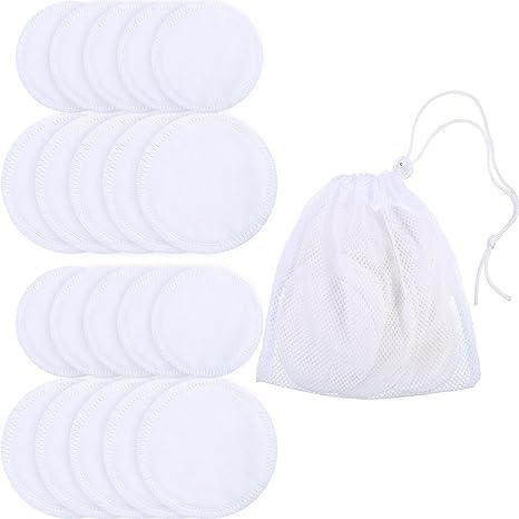 20 Piezas de Almohadillas de Desmaquillaje Almohadillas de Tóner Facial de Bambú Paño de Cuidado de