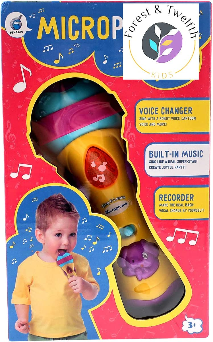 Premium Quality Battery Powered Mic for Fun Karaoke Sessions and Pretend Play Live Performances Recorder /& Voice Changer Forest /& Twelfth Kids Multi-Colored Toy Microphone with Built-In Music Player