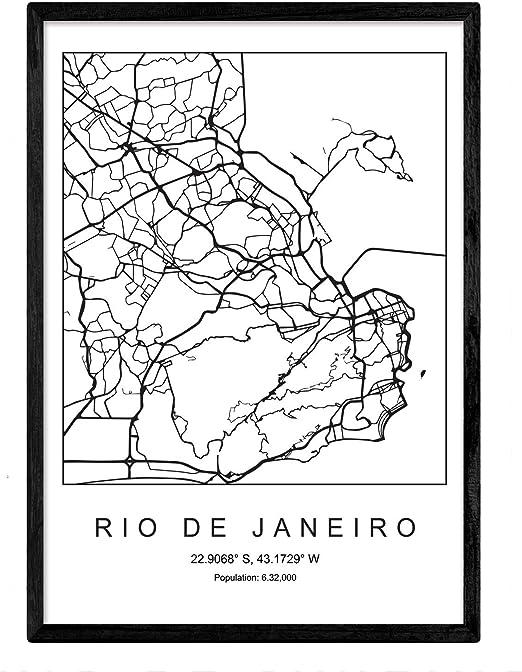 Nacnic Lámina Mapa de la Ciudad Rio de Janeiro Estilo nordico en ...