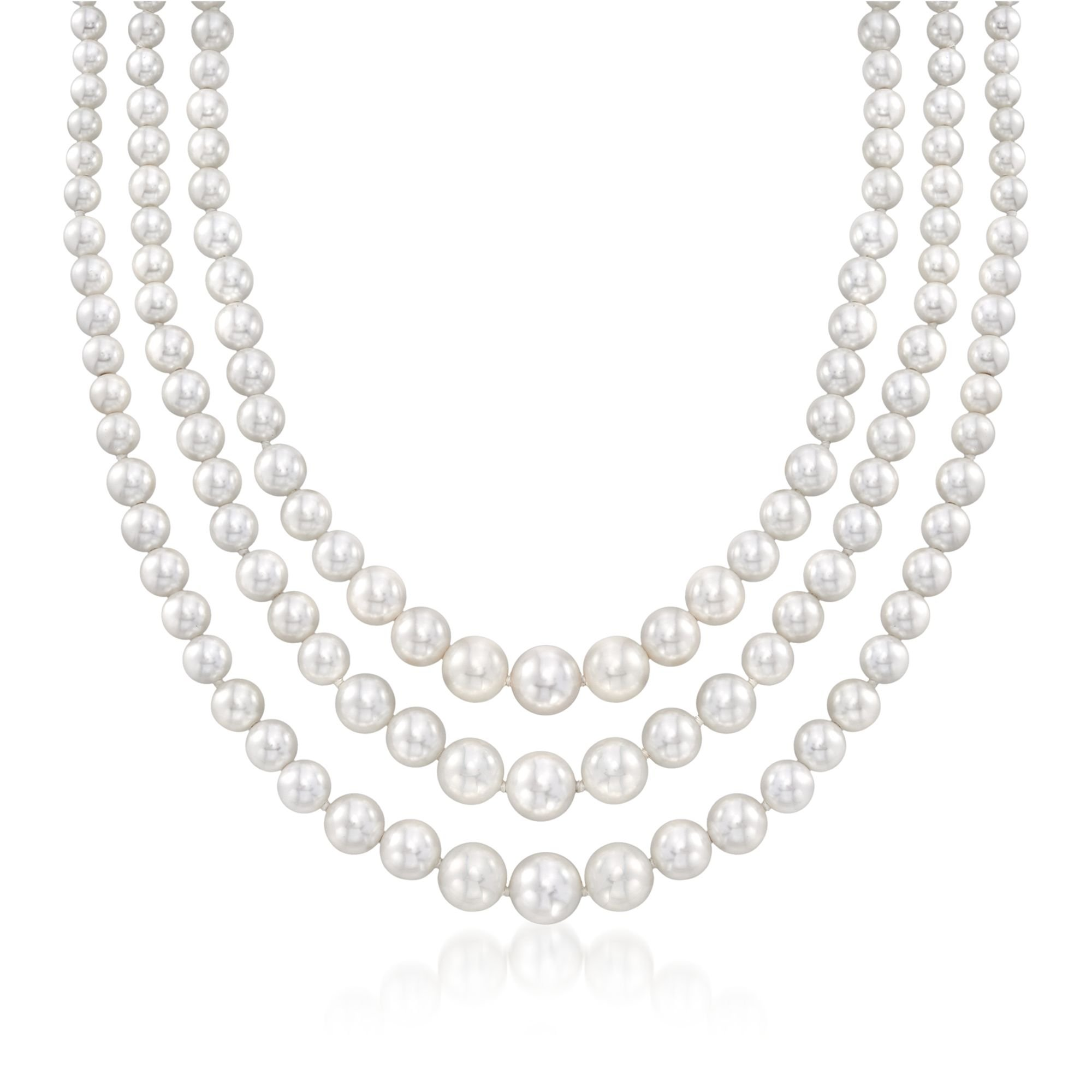 Ross-Simons 6-12mm Shell Pearl Graduated Three-Strand Necklace in Sterling Silver