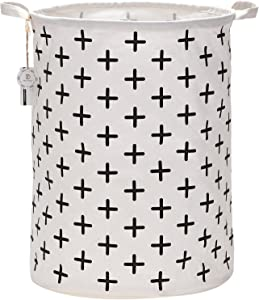 "Sea Team 19.7"" Large Sized Waterproof Coating Ramie Cotton Fabric Folding Laundry Hamper Bucket Cylindric Burlap Canvas Storage Basket with Stylish Black Cross Design"