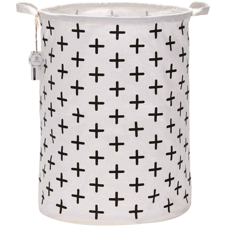 Sea Team 19.7 Large Sized Waterproof Coating Ramie Cotton Fabric Folding Laundry Hamper Bucket Cylindric Burlap Canvas Storage Basket with Stylish Black Cross Design ST-LH0007C