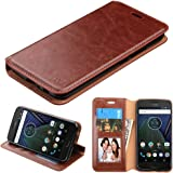 Motorola Moto G5 Plus Case, Bicast Leather Folio Wallet with Card Slots and Kickstand, Comes with Film Screen Protector and Stylus - Brown