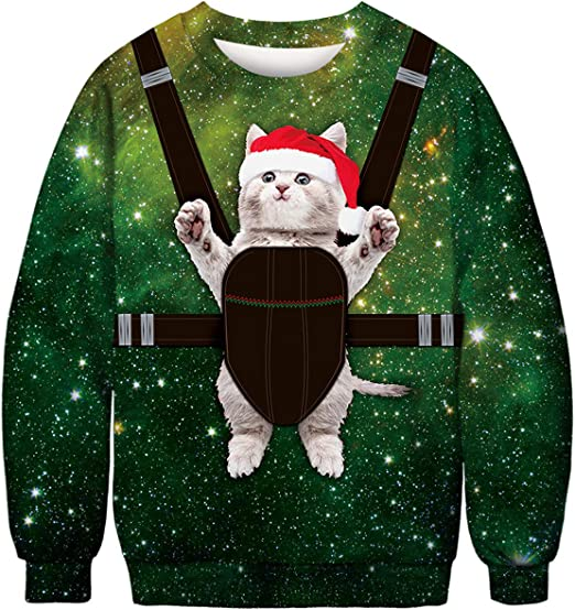 TURNMEON Unisex Ugly Christmas Sweatshirt Mens Womens Funny Sweater 3D Print Xmas Holiday Party Pullover Long Sleeve Shirts