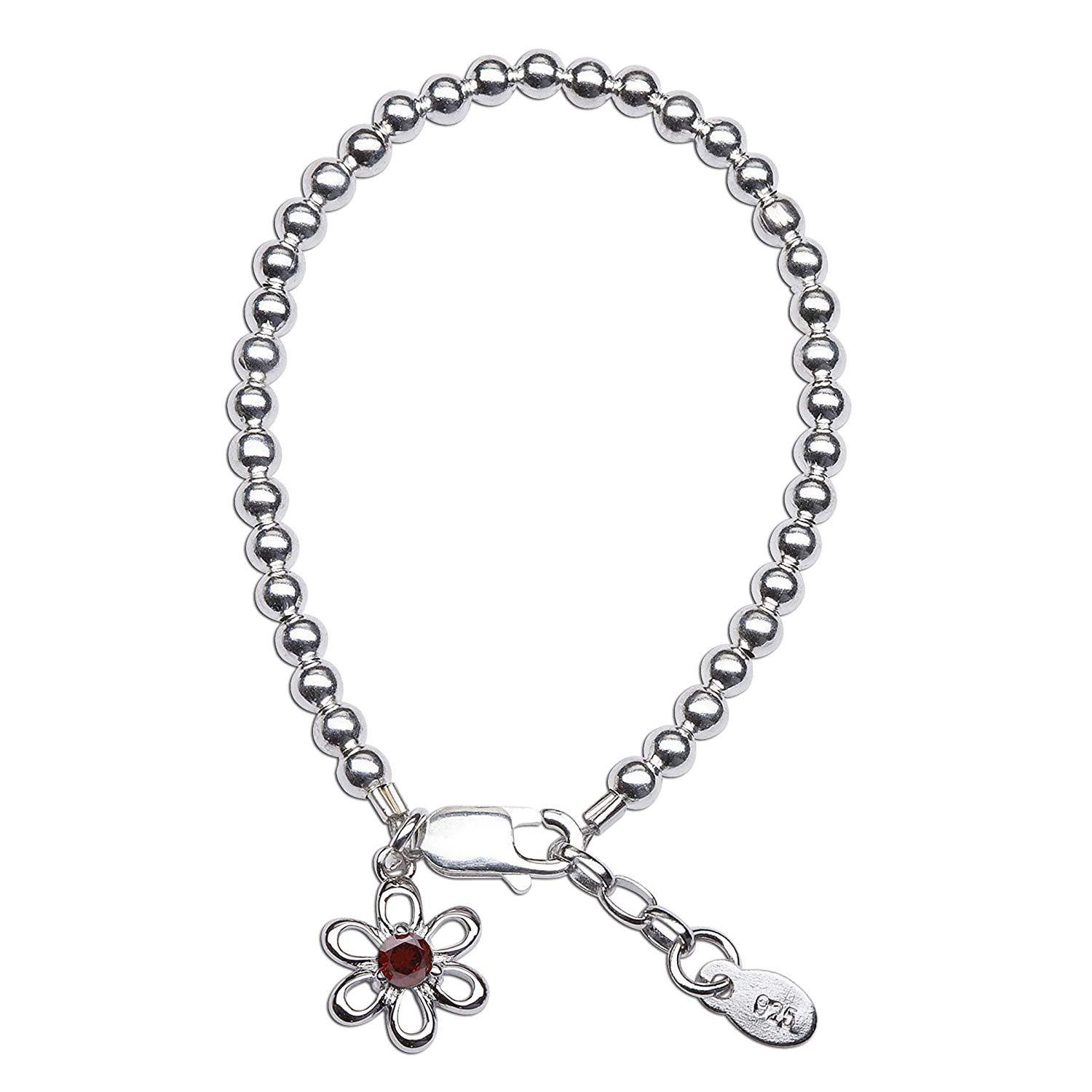 Girls Sterling Silver Simulated Birthstone Bracelet with Daisy Charm