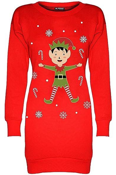5dc31a72ab8 Be Jealous Womens Ladies Christmas Xmas Fleece Elf Candy Stick Long Tunic  Sweatshirt Dress