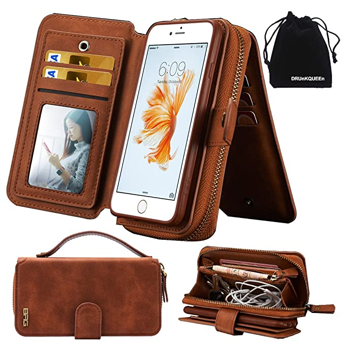 competitive price 47626 830c7 iPhone 6s Plus Case, iPhone 6 Plus Case, Premium Zipper Wallet Leather  Detachable Magnetic Case Purse Clutch with Black Flip Credit Card Holder  Cover ...