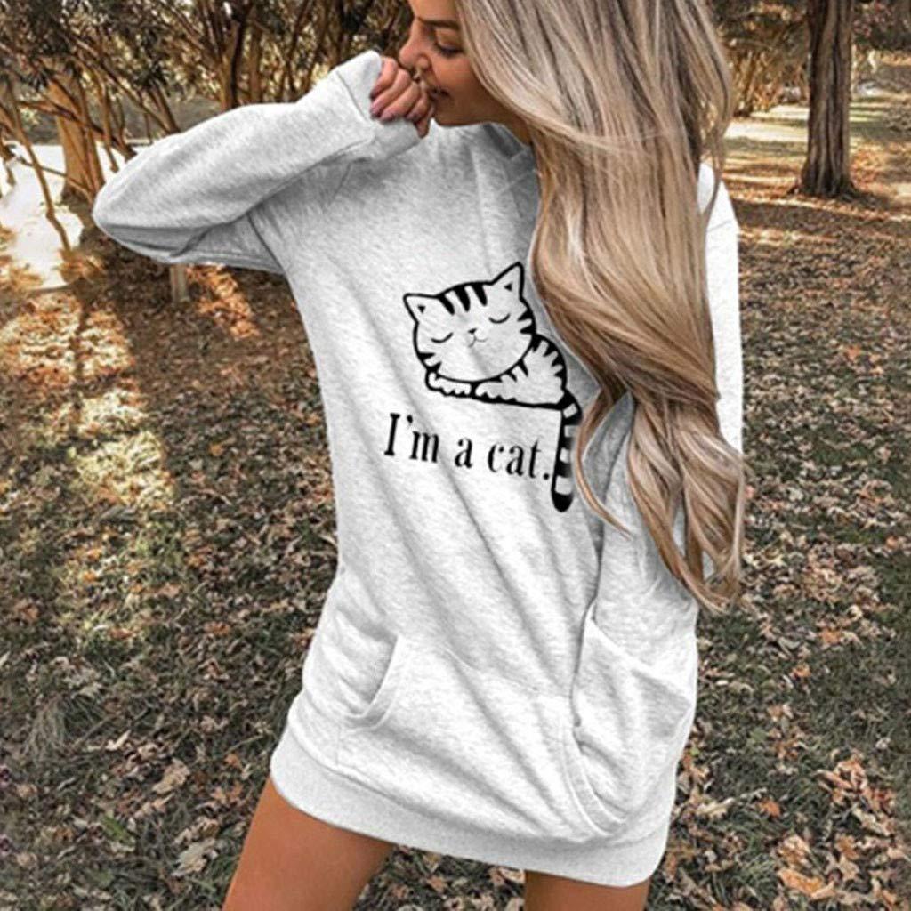 K-Youth Fina Im a Cat Sudaderas Adolescentes Chicas Largas Estampado de Gato Sudaderas con Capucha Mujer Invierno Sudadera Mujer Tumblr Ropa de Mujer Deportivas Oto/ño Camiseta Tops