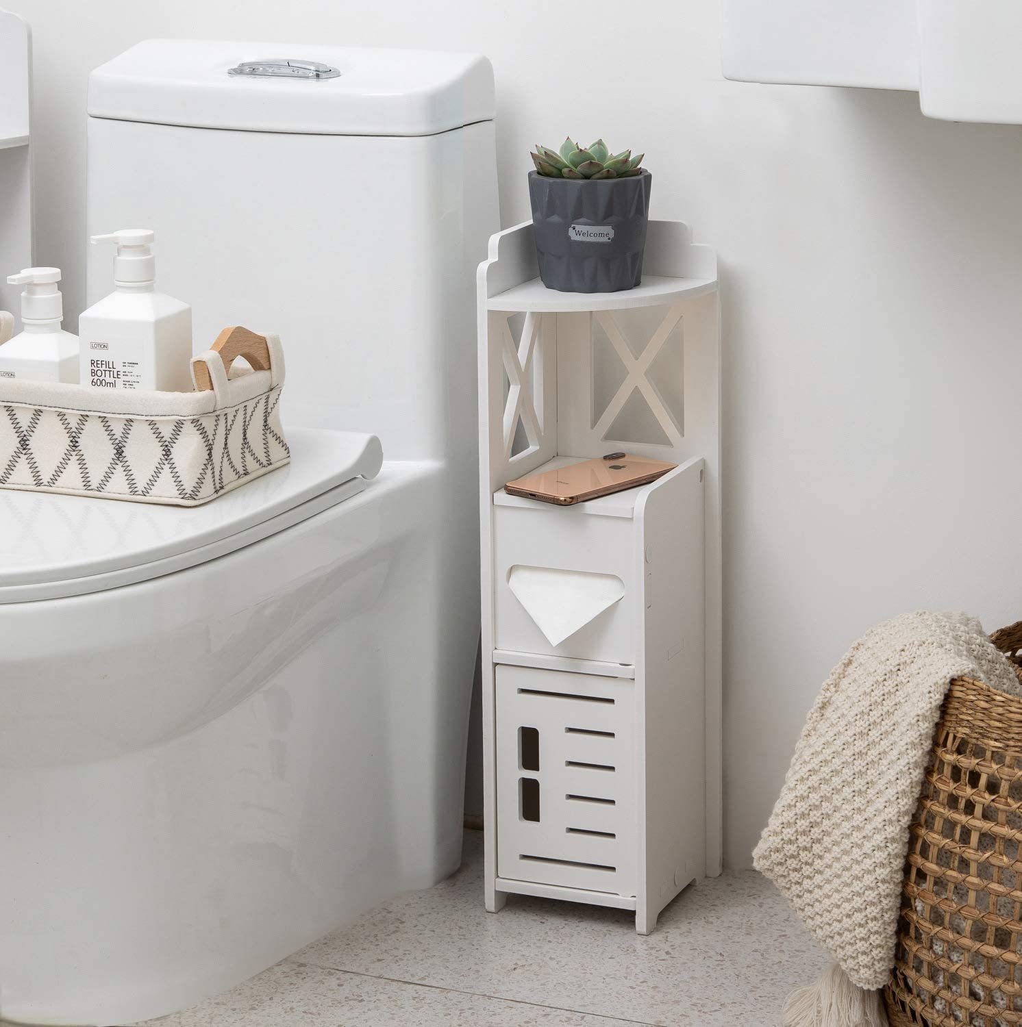 Beside Toilet Storage Narrow Nightstand For Bedroom Slim Bathroom Cabinet Waterproof For Half Bath Corner Storage Cabinet With Doors For Small Spaces Tp Holder For Small Bathroom White By Tuoxinem Kitchen Dining