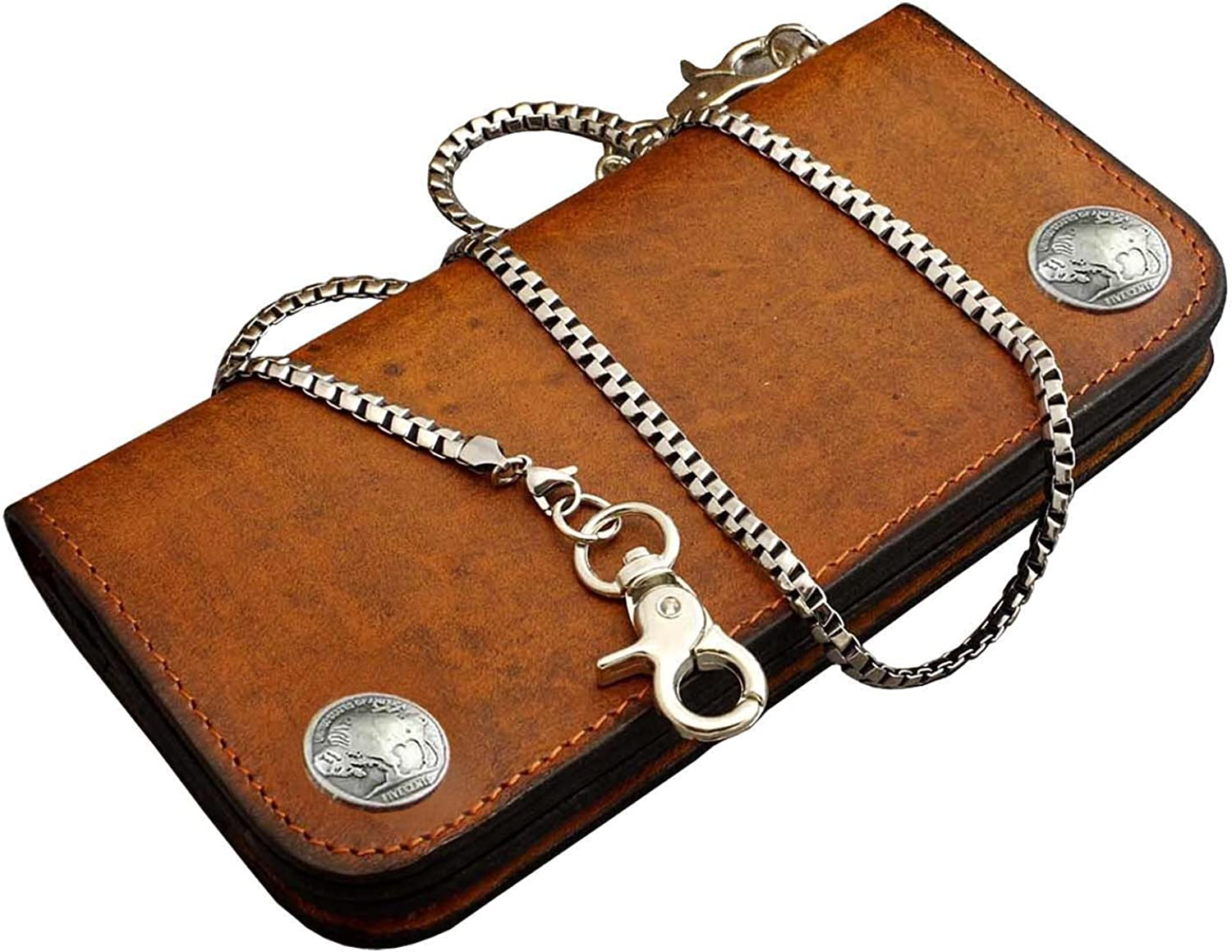Mens Motorcycle Biker Leather Eagle Snap Close Wallet With A Necklace Link Chain