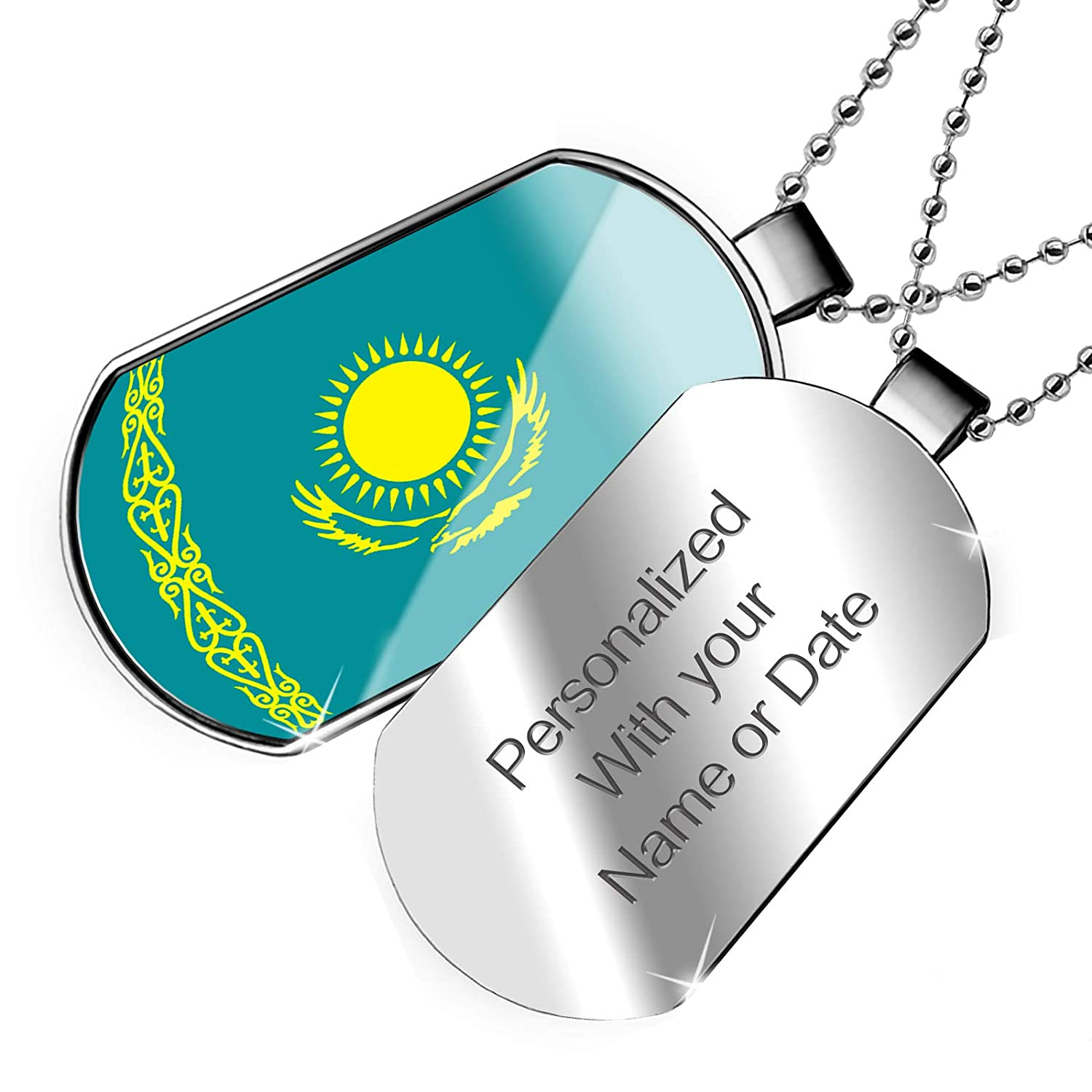 NEONBLOND Personalized Name Engraved Kazakhstan Flag Dogtag Necklace