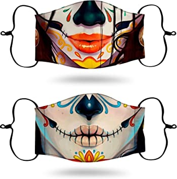 Day of The Dead Skull Flower Adjustable Anti Dust Face Mouth Reusable Washable Face Cover Facial Dust Mouth Scarf Halloween Cycling Camping Adult Boys Girls White